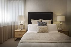 Clarendon Homes.  Sheridan 37. Navy blue feature bed head in the master bedroom.