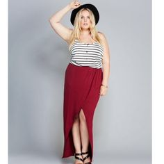 NWT open front wrap maxi skirt in burgundy Brand new. 42.5 length. Rayon/spandex Skirts Maxi