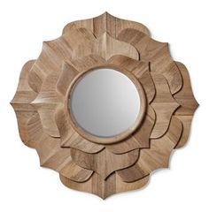 Lotus Mirror A beautifully hand carved, solid wood mirror with a delicate petal like design. Transitional Mirrors, Contemporary Mirrors, Modern Mirrors, Natural Mirrors, Art Nouveau, Spiegel Design, Flower Mirror, Wood Mirror, Mirror Mirror