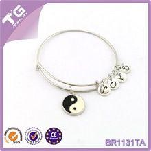 Frete grátis Vintage aço inoxidável pulseiras ALEX ALEX yin e yang pulseira fio expansível ALEX PAN DIY26accessories pulseira(China (Mainland))