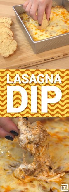 This lasagna dip is class cheesy, gooey, comfort food.