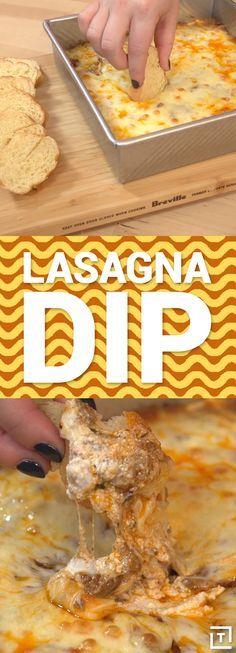 This lasagna dip is class cheesy, gooey, comfort food.