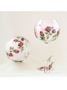 Hand Painted  Wine Glasses  Crimson Red Rose by HandPaintedPetals, $74.00