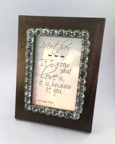 Mothers Quote Frame/4x6 Frame/Frame for Mothers Day/Quotable Art for Mothers Day/Mothers Day/Mothers Birthday/For Mom/Black Sparkly Frame by HerFaveRitThings on Etsy