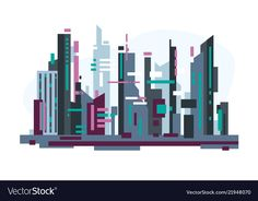Futuristic city with skyscrapers vector image on VectorStock Adobe Illustrator, Big Building, Abstract City, Futuristic City, City Illustration, Vector Free, Neon Signs, Flat Style, Shapes
