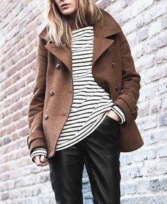 pea coat and stripes