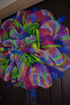 BRIGHT Rainbow Deco Mesh Wreath by RedWithEnvyDesigns on Etsy