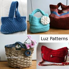 Crochet bags PATTERN offer, 4 patterns for only 12 dollars, lovely collection of crochet totes and bags patterns by Luz Patterns
