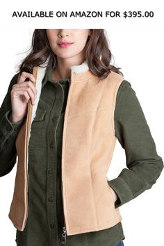 f6a5595c513c Pauline Shearling Sheepskin Vest ◇ AVAILABLE ON AMAZON FOR   395.00 ◇  Ruggedly feminine zip-front sheepskin vest with flattering seams offers  warmth from ...