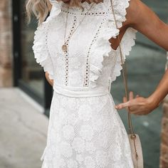 Lace dress casual - JaMerry Boho embroidery white lace women mini dress Hollow out sashes ruffled holiday summer dress Casual sexy beach dress vesti – Lace dress casual Summer Holiday Dresses, Casual Summer Dresses, Dress Casual, Casual Outfits, Beach Holiday, Casual Clothes, Girly Outfits, White Dresses For Women, White Women