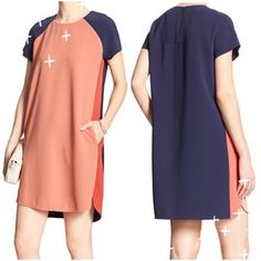 SALE !  Beautiful Colorblock Shift !   Beautiful Colorblock Shift by Banana Republic ! Navy and coral ! Beautiful combination ! Rounded neckline ! Hidden zipper closure ! On seam pockets ! Vented hem ! Hits above knee ! 93% polyester 7% spandex ! In package ! Beautiful !  Banana Republic Dresses