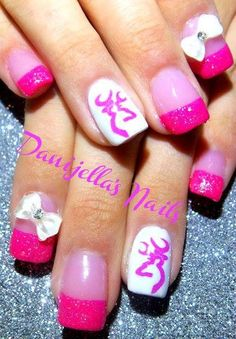 pink browning by DanijellaDavis from Nail Art Gallery. I wouldn't want the bow Deer Nails, Camo Nails, Camouflage Nails, Redneck Nails, Country Nails, Gel Nail Art Designs, Nails Design, Summer Toe Nails, Nails Only