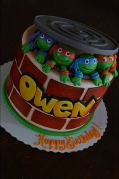 Ninja Turtle Cake for Owen's 5th birthday! (By Sweet Arts Cakes in Troy,OH)