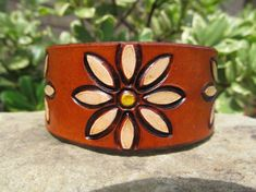 Hand Painted Tooled Leather Bracelet Cuff Daisy by SarahsArtistry, $19.95