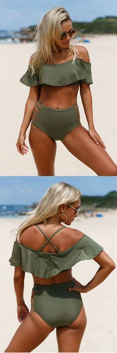Whether wading in shallow waters or braving wild waves swim in style with this Ruffle Off Shoulder Bikini High Waist Swimsuit! - Swimsuits - Ideas of Swimsuits Cute Bikinis, Cute Swimsuits, Women Swimsuits, Swim Suits Bikinis, Women's Swimwear, Summer Bathing Suits, Cute Bathing Suits, Summer Wear, Summer Outfits