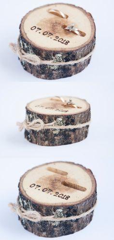 Rustic ring bearer pillow, wedding wood slice, rustic ring box, birch wedding decoration, wood wedding decor, ring pillow alternative, #weddings #weddingideas #rusticweddings #countryweddings #weddinginspiration