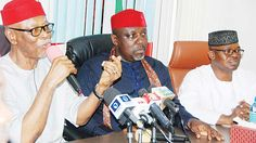 APC governors seek restructuring of party   National Chairman of the All Progressives Congress (APC) Chief John Odigie-Oyegun (left) Chairman Progressive Governors Forum Governor Rochas Okorocha of Imo State and Deputy National Chairman South-West Chief Segun Oni during the governors meeting with the National Working Committee in AbujayesterdayPHOTO: LUCY LADIDI ELUKPO  Buhari to meet leadership soon Elected governors of the All Progressives Congress (APC) have called for a restructuring of…