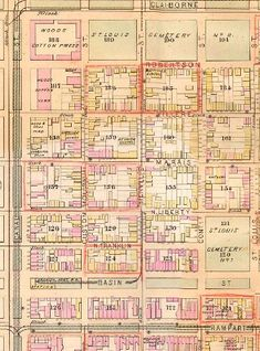 Map of Storyville from 1883.  This is the legendary Red Light District of NOLA that hasn't existed in many, many years, but it still part of our mythology.
