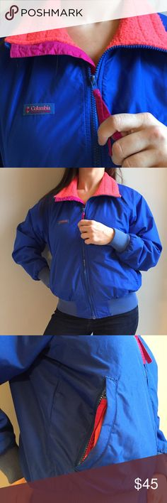 COLUMBIA 🐅 retro awesome bright winter coat Coat By columbia, very retro vintage 80's 90's bright color blocking. Jacket is a hip length bomber style, very warm with no major damage (rips or tears anywhere) has been well loved for many years! Cool radical colors of blue, coral, pink and a soft fleece lining on the inside. Zipper pockets on the outside and full zip up the front. You will not find anything like this! womens size medium Columbia Jackets & Coats Utility Jackets