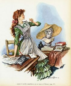 """An illustration of Jo from """"Little Women,"""" 1952 -- by Libico Maraja (1912--1983, Italian). The same year Maraja also sent Hans Christian Anderson's """"The Ugly Duckling,"""" and three other children's stories/books to print. (Image is copyright of artist or assignee.) http://www.libicomaraja.it/en/illustration-2/"""