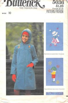 BUTTERICK 5036 - FROM 0070 - UNCUT- GIRLS COAT AND EMBROIDERY TRANSFER