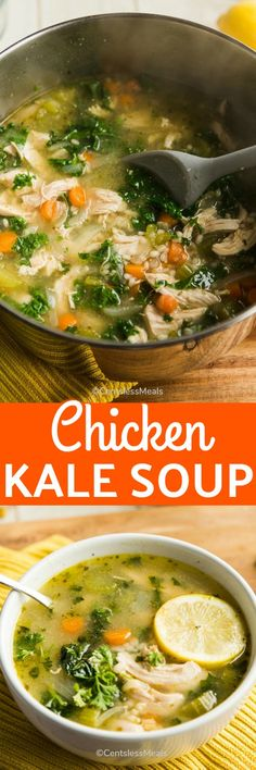 Chicken Kale Soup is a hearty and comforting soup recipe that is perfect for chilly days and light lunches! With bold lemon and ginger flavors, this easy to make soup is anything but ordinary! #centslessmeals #chickensoup #chickenkalesoup #easyrecipe #easysoup #souprecipe #chicken #easylunch #withkale #lemonsoup...