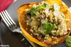 Stuffed Squash with Quinoa--an awesome savory fall time dish.