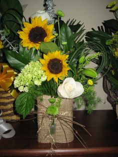 Burlap and Sunflowers By Janet Olson