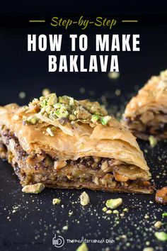 This is the easiest step by step to prepare and make the best Baklava ever! It makes a perfect addition to any Holiday festivies you have this year! #baklava #howtomakebaklava #holidaybaking Make Ahead Desserts, Just Desserts, Best Baklava Recipe, Greek Baklava, Cookie Recipes, Dessert Recipes, Mediterranean Dishes, Tasty, Yummy Food