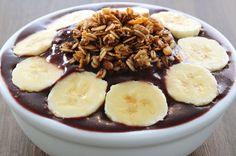 (açaí sem açúcar, banana, granola) adoce com stevia ou adicione suco de laranja)