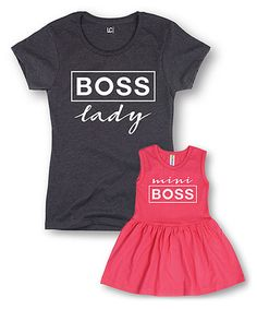 Love this Black 'Boss Lady' Tee & Pink 'Mini Boss' Dress - Toddler & Women on Mother Daughter Shirts, Mom Daughter, Mommy And Me Outfits, Girl Outfits, Toddler Fashion, Girl Fashion, Matching Outfits, Matching Clothes, Matching Shirts