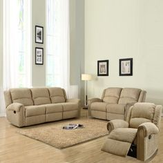 Grady Chenille Reclining Sofa Set - Beige by Homelegance. $1899.99. Filled with polyurethane foam. Features reclining mechanism for maximum comfort. Set includes recline, loveseat, and sofa. Constructed of engineered wood and pine wood. Chenille fabric upholstery in beige. Your comfort's complete with the Grady Chenille Reclining Sofa Set - Beige. Each piece of this seating set - a chair, a loveseat, and a sofa - is crafted with durable pine and engineered wood frames, s...