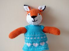 Knitted Fox, Hand Knitted Fox, Woodland Animal, Stuffed Fox, Fox Lover Gift, Plushie Fox, Stuffed Animal, Fox wearing turquoise dress by TabbyCatCraftsShop on Etsy