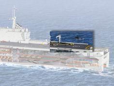 Des monte-charge de 13 tonnesAvec ses 225 m2 (15 x 15 m), la plate-forme �l�vatrice arri�re a �t� con�ue pour pouvoir monter sur le pont un h�licopt�re avec ses pales d�ploy�es, et �courter ainsi son d�lai de d�collage. La seconde dispose d'une grue de 17 tonnes de charge.