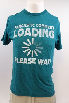 Men's Teal T Shirt Hybrid Threads Graphic Print Medium Sarcastic comment... A324 #HybridThreads #GraphicTee