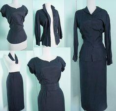 1950s 4pc Silk Dress Set - skirt - blouse - long sleeve shirt - skirt - belt