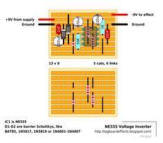 Guitar FX Layouts: NE555 Voltage Inverter