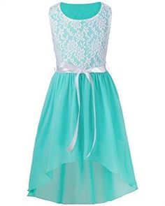 Buy Big Girls Kids Lace Flower High Low Chiffon Dress Wedding Bridesmaid Party Gown - Aqua Marine - online, more latest style of Girls' Special Occasion Dresses sale at affordable price. Dresses Short, Knee Length Dresses, Dresses For Teens, Dance Dresses, Plus Size Dresses, Cute Dresses, Girls Dresses, Flower Girl Dresses, Turquoise Flower Girl Dress