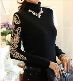 High Quality Plus Size S-XXXXL Elegant Hot Sale High Collar Embroidery Woman Thicken Knitting Cotton Blouse