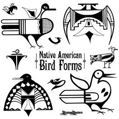 Vector art of Native American Iconic Bird Forms Native American Animal Symbols, Native Symbols, Indian Symbols, Native American Patterns, Native American Design, Native American Crafts, American Indian Art, Native Art, Native American Indians