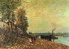 Le remorqueur, huile sur toile de Alfred Sisley (1839-1899, France) #sisley #tableau