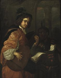 A man playing the lute with a servant holding a music sheet by Carel de Moor