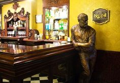 Hemingway propping up the bar in the Cafe Iruna, Pamplona on the #Camino de Santiago #Spain