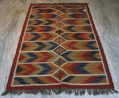 Anatolia Turkish Antalya Kilim Area Rug Carpet Dhurrie Primitive KILIM 5x8 Feet  #Turkish