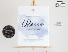 Baptism Welcome Sign Template for Boy, Modern Baptism Sign, Baptism Boy, Christening Welcome Sign, Watercolour, Simple Baptism Sign, Rocco Boy Christening, Boy Baptism, Christening Invitations, Sign Templates, Photo Center, Premium Fonts, Textured Background, Welcome, Watercolour