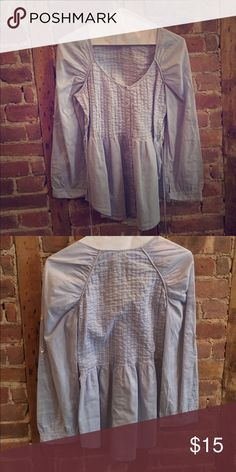 Light blue Anthropologie Top Strings tie in back, peasant style, from anthropologie and just dry cleaned Anthropologie Tops Tees - Long Sleeve