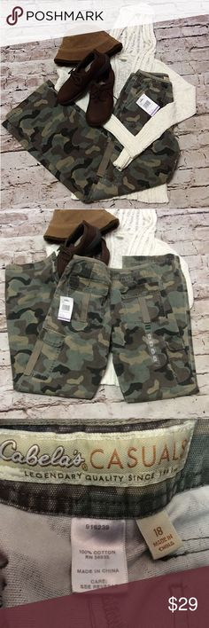 """GIRLS SZ 18 CAMO DRAWSTRING PANTS These are great for the outdoor loving gal, whether you're a hunter or just want to wear them as a casual outfit. NWT Lying flat Waist 13"""" Inseam 31"""" Rise 10"""" cabelas Bottoms Casual"""