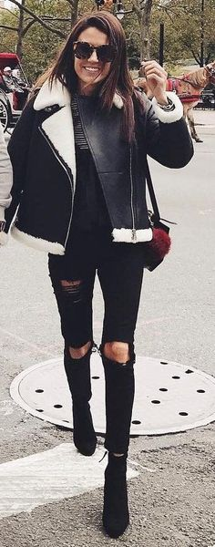 #fall #outfits Destroyed Jeans // Black Jacket // Black Ankle Boots
