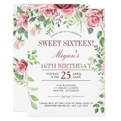 16th Birthday Pink Roses Chic Sweet Sixteen Party Invitation