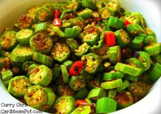 A classic Caribbean style curry okra... no better way to add flavor to a vegetarian meal.